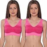 Hanes Women's Cozy Seamless Wire-Free Bra (2 Pack), Fuchsia, S