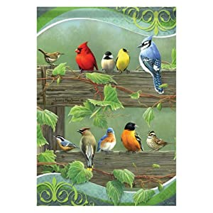 Birds on a fence rail decorative house flag for Decorative birds for outside