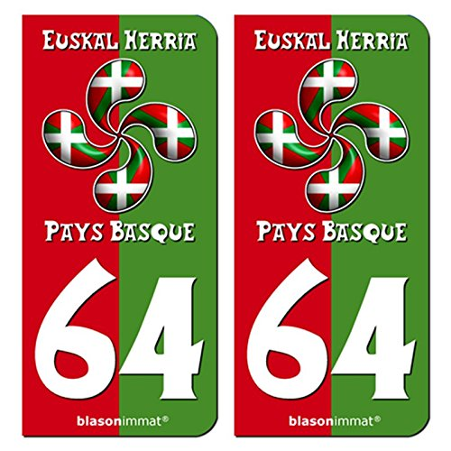 2-Stickers-de-plaque-dimmatriculation-auto-64-Pays-Basque-Collector