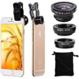 XCSOURCE® Universal Kit Objectif fish-eye à 180° + Objectif grand angle + Objectif Micro pour iPhone 6 Plus, 6, 4S 4 4G 5 5G 5S 5C 3GS Samsung GALAXY S2 I9100 S3 I9300 S4 I9500 S5 I9600 Note I9220 Note2 N7100 Note3 S3 mini i8190 S7562 HTC DC264B
