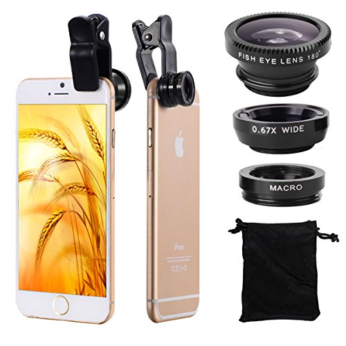 Per iPhone 4S 4G 4 5 5G 5S 5C 3GS Samsung GALAXY S2 I9100 S3 I9300 S4 I9500 Note I9220 Note2 N7100 Note3 i8190 HTC Obiettivo Staccabile Grandangolo Macro + Lente Fish Eye 3in1 Set DC264B