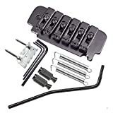A Set 6 String Saddle Tremolo Bridge for Electric Guitar Heavy Thickened Base (Black) (Color: Black)