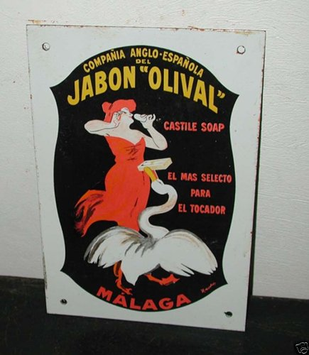 Old Jabon Olival Soap Cappiello Porcelain Enamel Sign