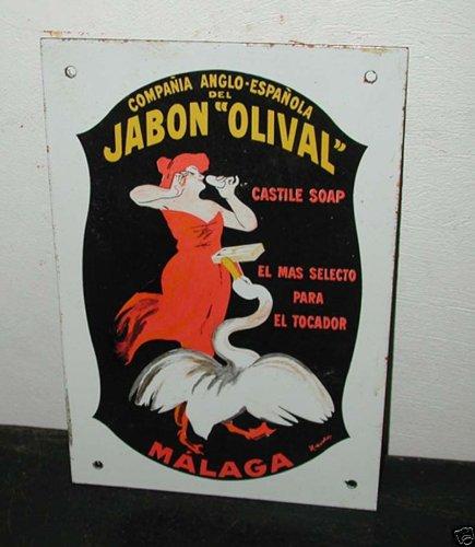 Old Jabon Olival Soap Cappiello Porcelain Enamel Sign