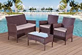 BTM RATTAN GARDEN OUTDOOR WICKER PATIO FURNITURE OUTDOOR SOFA SET STEEL (Brown)