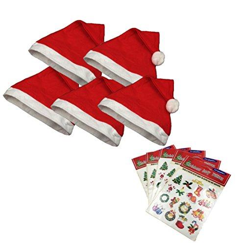 みんなでいっしょに Let's Party! クリスマス サンタ 帽子 と タトゥーシール シンプル 5枚 セット