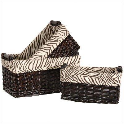 Zaharra Three Piece Rectangular Basket Set with Zebra Lining in Chocolate