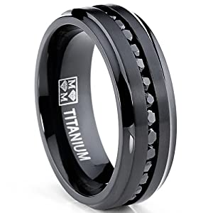 Black Titanium Men39;s Eternity Engagement Wedding Band Ring with Black