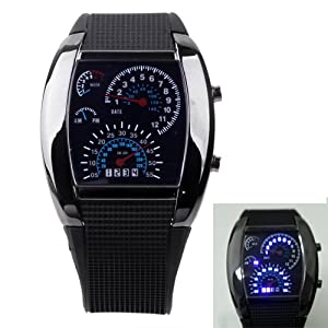 HDE RPM Turbo Meter Digitial LED Sports Mens Wrist Watch - Black: Watches