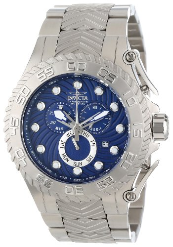 Invicta Men's 12932 Pro Diver Chronograph Blue Textured Dial Stainless Steel Watch
