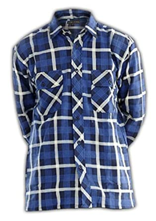 Mens Boys Flannel Lumberjack Brushed Cotton Casual Check Work Shirt Top, Size: M L XL XXL XXXL (M, Blue & White)