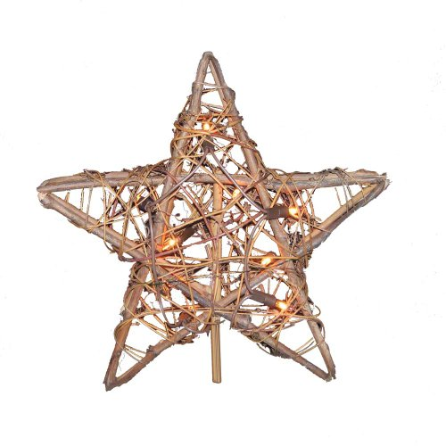 Kurt Adler 10 Light Rattan Star Treetop