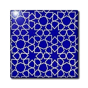 3dRose ct_56724_3 Silver Stars Outline Geometric Intricate Islamic Art Pattern on Blue Filigree Laser Cut Effect Ceramic Tile, 8-Inch