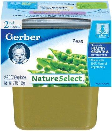 Gerber 2Nd Foods Vegetables - Peas - 3.5 Oz - 2 Ct - 8 Pk