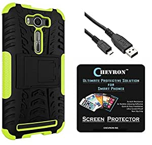 Chevron Tough Hybrid Armor Back Cover Case with Kickstand for Asus Zenfone 2 Laser 5.5 inch with HD Screen Guard & Micro USB Data Cable (Green)
