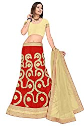Pushty Fashion Red and Beige net Embroidered Lehenga