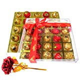 Scrumptious Wrapped Chocolates With 24k Red Gold Rose - Chocholik Luxury Chocolates