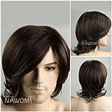 (WG-ZL15-6)Medium style Wave Men Wig,Dark Brown color.