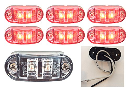 """6 New 2.6""""X1"""" Clear/Red Surface Mount Led Clearance Marker Lights 12V For Trucks Campers Trailers Rvs El-112602Cr6"""