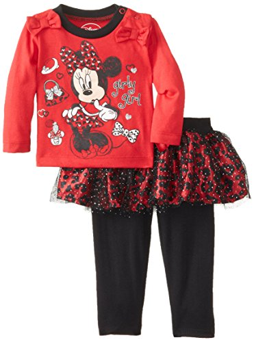 Disney Baby Baby-Girls Minnie Mouse Newborn Girl Playwear Set- Leggings And Long Sleeve Top, Red, 3/6 Months front-503749