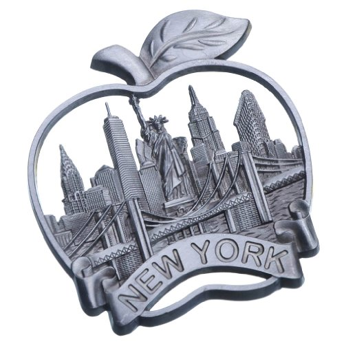 Big Apple New York Souvenir Metal Fridge Magnet Brooklyn Bridge NYC Statue of Liberty NY Empire State Building Chrysler Building Metal Magnet (Fridge Magnet New York compare prices)