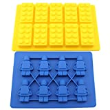 SySrion Lego Building Bricks & Blue Minifigure Ice Cube Tray Candy Crayon Mold Party