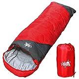 丸洗いOK White Seek 寝袋 シュラフ 封筒型【最低使用温度0℃ 1300】コンパクト収納 (レッド)