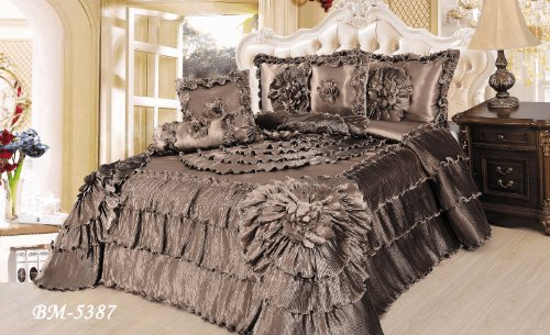 Tache 6 Piece Shades Of Espresso Ruffle Comforter Quilt Set, California King back-479389