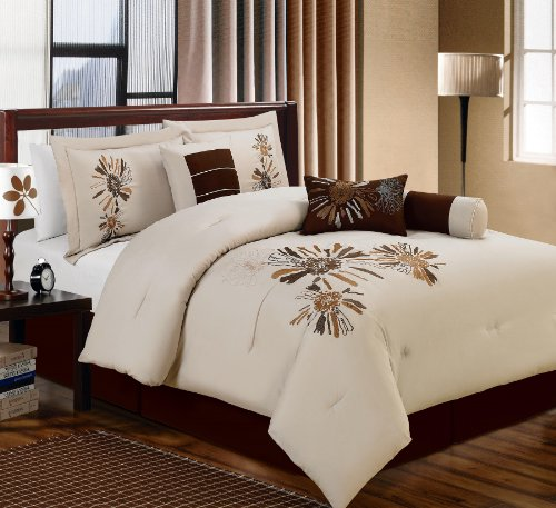 7-Pc Microfiber Embroidery Floral Comforter Set Bed In A Bag Queen Coffe/Beige Or Beige/Coffe (Beige, King) front-736659