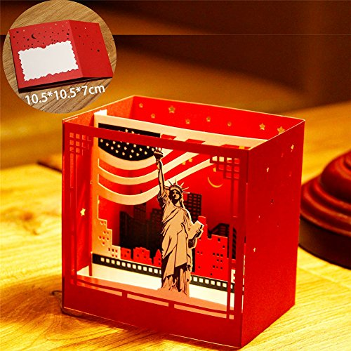 Statue of Liberty 3D Pop Up Greeting Cards Anniversary Baby Birthday Halloween New Year Thanksgiving Christmas Valentine Wedding