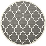 Safavieh CHT733D Chatham Collection Round Area Rug, 7-Feet, Dark Grey and Ivory
