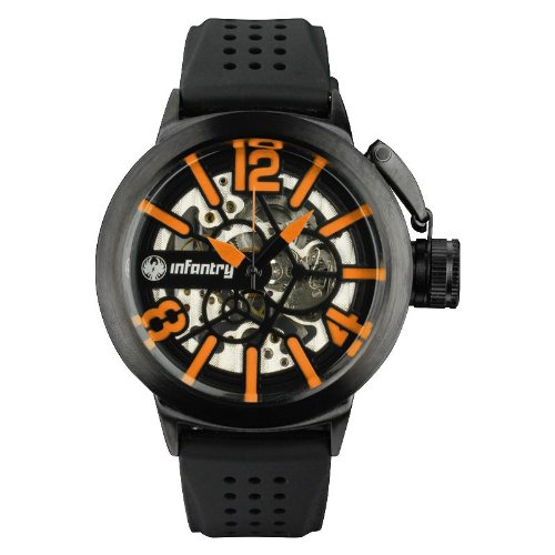INFANTRY Mens Semi-Automatic Mechanical Skeleton Wrist Watch Black Rubber Band Army Orange #IN-043-O-R