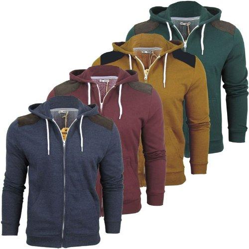 Mens Brave Soul 'Brutus' Hoodie/ Hooded Zip Jumper/ Sweatshirt Cord Patch [Medium]