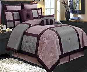 Amazon Com 12pc Modern Grey Purple Bedding Bed In A Bag