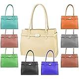 Made in Italy Damen Leder Shopper Umhängetasche Tasche Schultertasche Tablet/Ipad bis ca. 10-12 Zoll