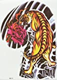 GGSELL GGSELL hot selling extra large new design big size 7.87 x 8.66 Inches waterproof Ferocious tiger with peony flower temporary tattoo sticker for should