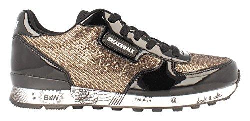Break&Walk Donna Sneakers Mujer Glitter scarpe sportive d'oro Size: 38