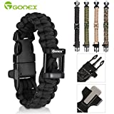 Gonex 550 Paracord Premium Paracord Bracelet Military Survival Parachute Cord with Fire Starter fits approx 8 inch-10 inch (23-26 cm) Wrists 4 Color to Choose