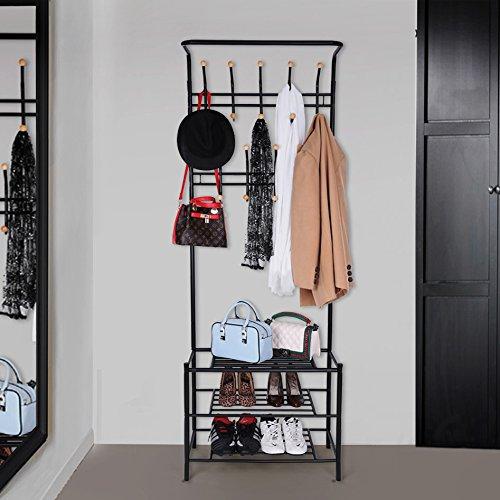 songmics h he 187 cm garderobenst nder kleiderst nder garderobe mit 3 schuhablagen mit 18. Black Bedroom Furniture Sets. Home Design Ideas