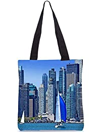 Snoogg White And Blue Boat Digitally Printed Utility Tote Bag Handbag Made Of Poly Canvas