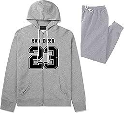 Sport Style San Diego 23 Team Jersey City California Sweat Suit Sweatpants XX-Large Grey