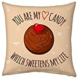 Valentine Gifts for Boyfriend Girlfriend Love Printed Cushion 12X12 Filled Pillow Peach Love Candy Sweetens Life for beloved