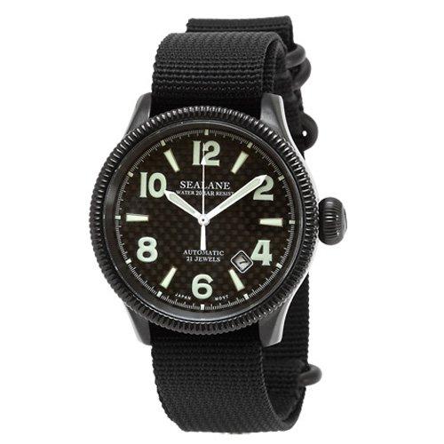 [シーレーン]SEALANE 腕時計 20BAR 自動巻 ナイロンストラップ SE23-NBK-BK メンズ