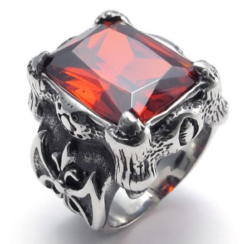 Size 9 - KONOV Jewelry Vintage Stainless Steel Band Red Crystal Dragon Claw Men's Ring, Color Black Silver Red