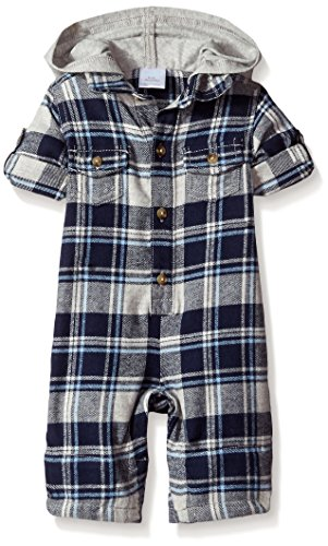 Gymboree Baby Blue And Gray Plaid Hooded One Piece, Multi, 3-6 Months