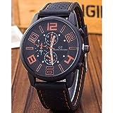 選べる 6 色 GT 腕時計 メンズ レディース アナログ 表示 シリコン ラバー バンド スポーツ アウトドア カジュアル 男性 女性 ウォッチ 腕 時計 (オレンジ) 163