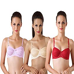 Bodyline Lacy Wired Multi Occasional Non Padded Skin Pink and Maroon Bra