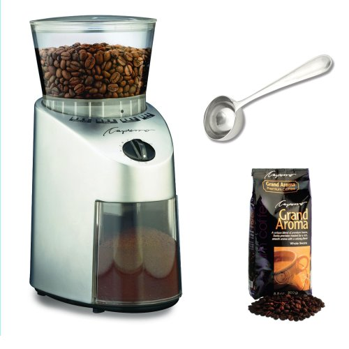 Capresso 560.04 Infinity Conical Burr Grinder w/ Capresso Grand Aroma Whole Bean Coffee (8.8oz) + Hic Coffee Measure