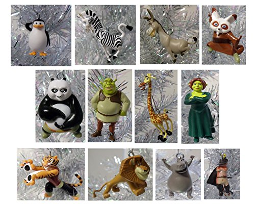 Dreamworks 10 Piece Holiday Christmas Tree Ornament Set Featuring the Cast of Shrek – Shrek, Fiona, Donkey and Puss in Boots – Cast of Kung Fu Panda – Po, Master Shifu and Tigress – Cast of Madagascar – Marty, Alex, Melman and Skipper – Ornaments Range from 1″ to 3″ Tall – Great for a Mini or Desk Top Christmas Tree