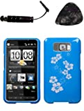 Mobile accessories HTC HD2 Plain Hibiscus Blue Phone Protector Cover Design Snap on Hard Shell Faceplate AND HiShop(TM) Stylus, Guitar Pick/Pry Tool
